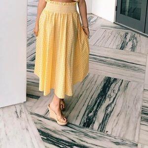 Long Yellow Checkered Skirt